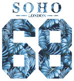 Soho London vintage artwork for t shirt print. Vintage artwork for woman shirt with tropical leaves background stock illustration
