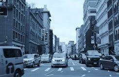 SoHo Miasto Nowy Jork ulicy Tłoczyli się Ruchliwie ludzi i ruch drogowego zdjęcia stock