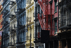 Soho, New York. Gietijzerarchitectuur stock foto's