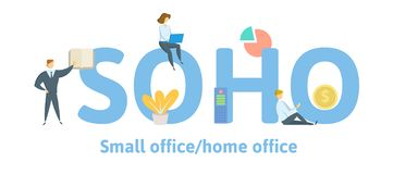 SOHO, Small Office - Home Office. Concept with keywords, letters and icons. Flat vector illustration. Isolated on white vector illustration
