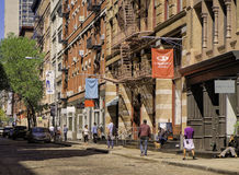 Soho Street, Lower Manhattan, New York. A typical street scene in the upscale, gentrified trendy neighborhood of Soho, in the lower Manhattan of New York, with Royalty Free Stock Photography