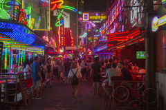 Soi Cowboy street in Bangkok. Soi Cowboy street in, near Nana station, is famous for its night life with go-go bars and animation girls Stock Image