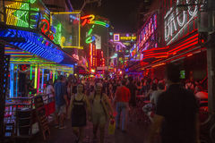 Soi Cowboy street in Bangkok. Soi Cowboy street in, near Nana station, is famous for its night life with go-go bars and animation girls Royalty Free Stock Images