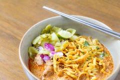 Soi de Khao de los tallarines, alimento tailandés fotos de archivo