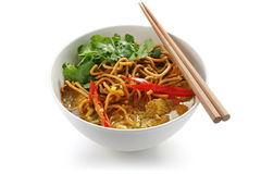 Soi de Khao, macarronetes do caril, alimento tailandês Fotos de Stock