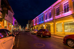 Soi Rommanee street. Phuket old town with old buildings in Sino Portuguese style is a very famous tourist destination of Phuket Royalty Free Stock Images