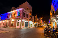 Soi Rommanee street. Phuket old town with old buildings in Sino Portuguese style is a very famous tourist destination of Phuket Stock Image