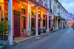 Soi Rommanee street. Phuket old town with old buildings in Sino Portuguese style is a very famous tourist destination of Phuket Stock Photo