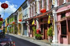 Soi Rommani, or Soi Romanee, in Phuket Town. Multi colored sino-portuguese facades on Soi Rommani, or Soi Romanee, in Phuket Old Town, Thailand Royalty Free Stock Photos