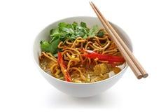Soi van Khao, kerrienoedels, Thais voedsel stock foto's