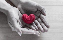 Soie en forme de coeur rouge sur des mains Image libre de droits