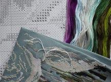 Soie iridescente lumineuse de fil pour la broderie et la couture Fils de couture pour le plan rapproché de broderie Mouline Images libres de droits