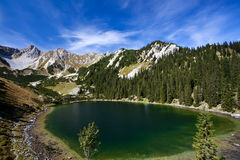 Soiernsee lake and view on Schottelkarspitze Royalty Free Stock Image