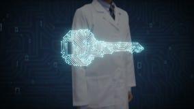 Soignez l'écran numérique émouvant, forme de clé, ligne légère de carte, sécurité, la solution de découverte, technique de protec
