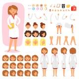Soignez la création de vecteur de constructeur de l'ensemble médical femelle d'illustration d'émotions de tête et de visage de ca illustration de vecteur