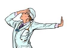 Soignez la médecine d'homme geste de démenti de honte non photographie stock libre de droits
