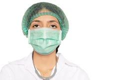 Soignez le masque s'usant et le capuchon principal, avec le stéthoscope Photographie stock