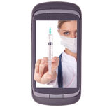 Soignez le téléphone, seringue d'injection Image stock