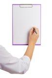 Soignez montrer une page de papier blanche au disque Photo stock