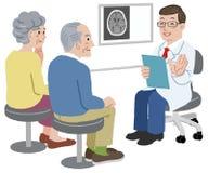 Soignez parler avec son patient et la famille illustration stock