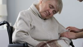 Soignez porter la femelle handicapée âgée somnolente dans le fauteuil roulant à la session de traitement banque de vidéos