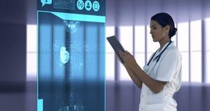 Soignez regarder les icônes médicales digitalement produites sur le comprimé illustration de vecteur