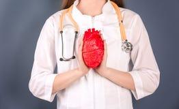 Soignez tenir le modèle du coeur sur le fond de couleur Images libres de droits