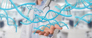 Soignez tenir le rendu numérique bleu de la structure 3D d'ADN Images stock