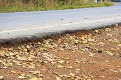 Soil beneath the asphalt road. Royalty Free Stock Photography