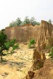 Soil cliff at Kork Suo,Nan,Thailand Stock Images