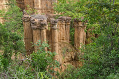 Soil Columns with 30 meter height called The Roman at Pha Chor C Stock Photo