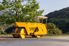 Soil compactor for road asphalting royalty free stock photo
