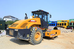 Soil compactor during road construction works Stock Images