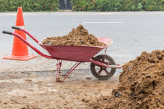 Soil in construction trolley at construction site Stock Photography
