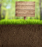 Soil Cut In Garden With Wooden Sign Stock Images
