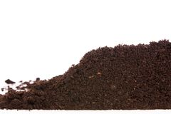 Soil or dirt section isolated on white background Stock Photos