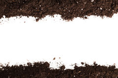 Soil or dirt section. Isolated on white background royalty free stock photos