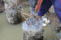 Soil drilling, cement Stock Photo