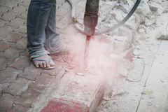 Soil drilling, cement Royalty Free Stock Image