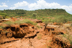 Soil erosion. Caused by heavy rainfalls in central Kenya royalty free stock images