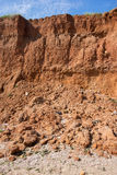 Soil erosion. Due to water from rains stock photography