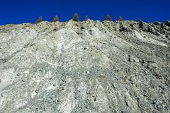 Soil erosion of a mountain slope stock images