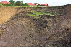 Soil erosion near the house. Stock Photography