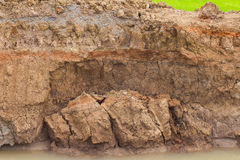 Soil erosion by water. Royalty Free Stock Images