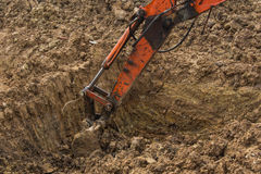 Soil excavation. On construction site Stock Photography