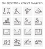 Soil excavation icon. Soil excavation and equipment icon set, 64x64 perfect pixel and editable stroke stock illustration