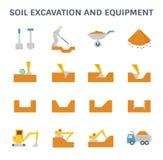 Soil excavation icon. Soil excavation and equipment vector icon set design stock illustration