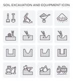 Soil excavation icon. Soil excavation and equipment icon set royalty free illustration