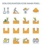 Soil excavation icon. Soil excavation and equipment icon set, 64x64 perfect pixel and editable stroke vector illustration