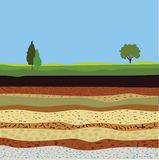 Soil formation and soil horizons. Underground layers of earth, landscape with sky and trees, the geological structure of the earth Royalty Free Stock Image